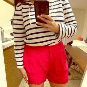 High waisted pink linen shorts